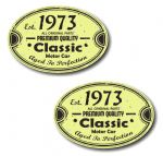 PAIR Distressed Aged Established 1973 Aged To Perfection Oval Design Vinyl Car Sticker 70x45mm Each